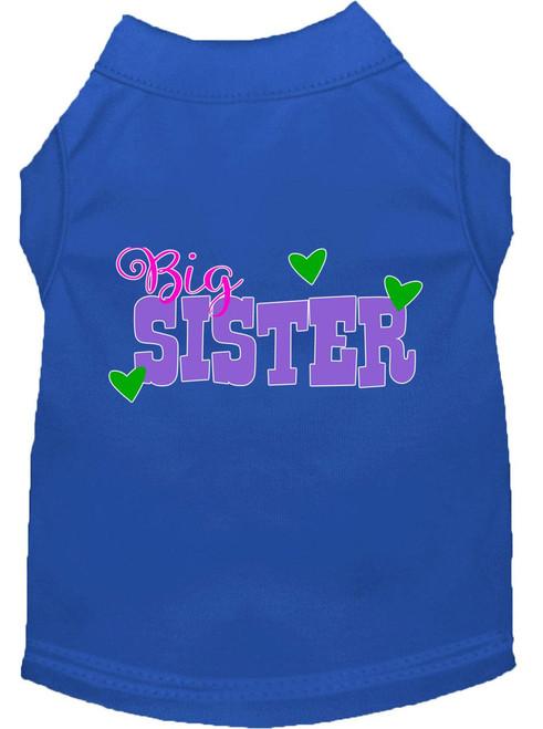 Big Sister Screen Print Dog Shirt Blue Lg