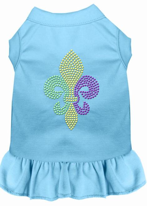 Mardi Gras Fleur De Lis Rhinestone Dress Baby Blue Sm (10)