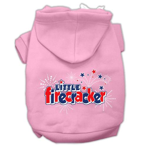 Little Firecracker Screen Print Pet Hoodies Light Pink Size M (12)