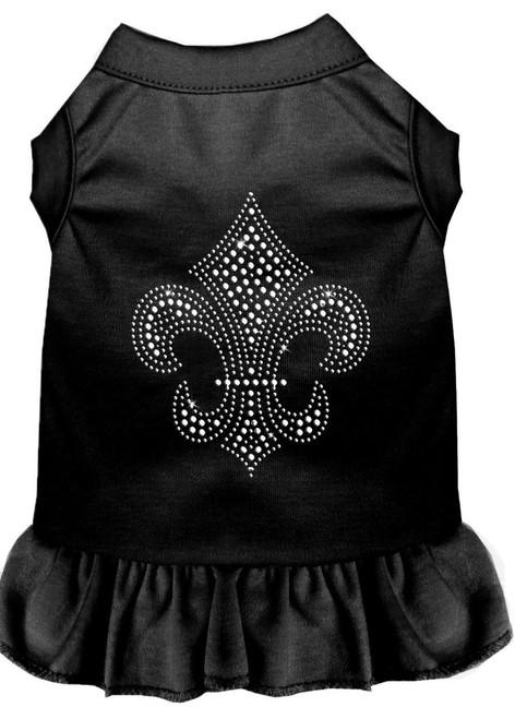 Silver Fleur De Lis Rhinestone Dress Black Sm (10)