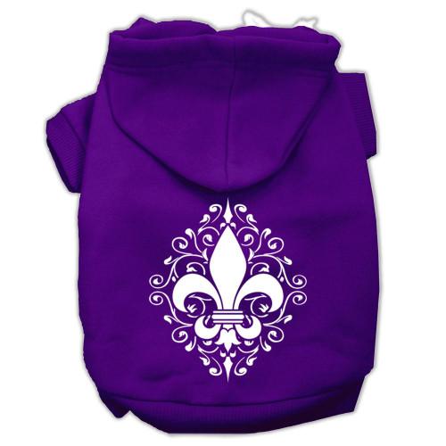 Henna Fleur De Lis Screen Print Pet Hoodies Purple Size Xl (16)