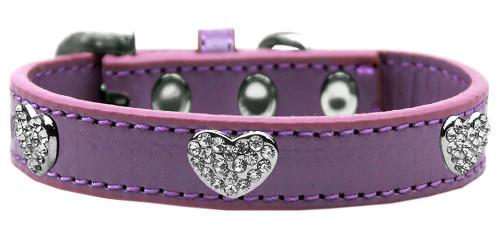 Crystal Heart Dog Collar Lavender Size 18