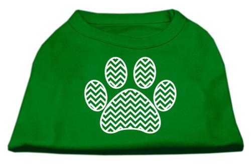 Chevron Paw Screen Print Shirt Green Lg (14)