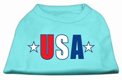 Usa Star Screen Print Shirt Aqua Med (12)