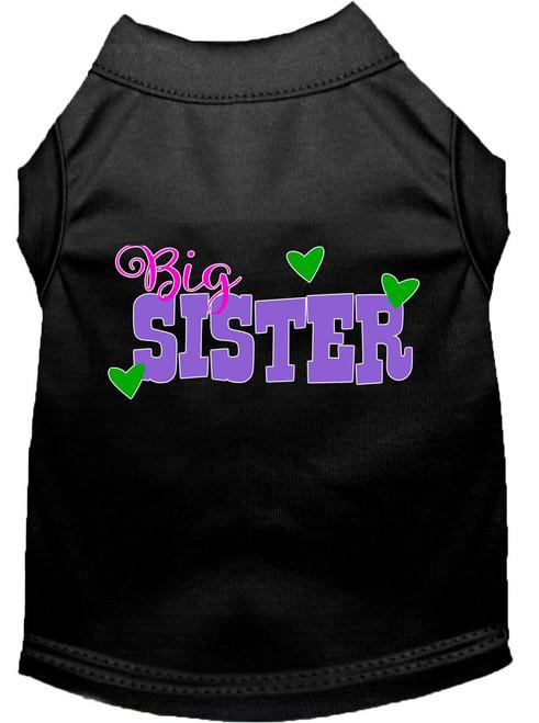 Big Sister Screen Print Dog Shirt Black Lg