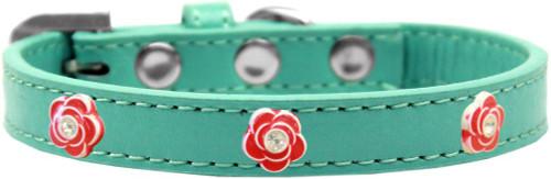Red Rose Widget Dog Collar Aqua Size 16