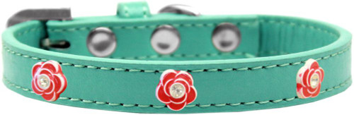 Red Rose Widget Dog Collar Aqua Size 14