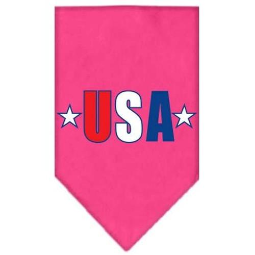Usa Star Screen Print Bandana Bright Pink Large