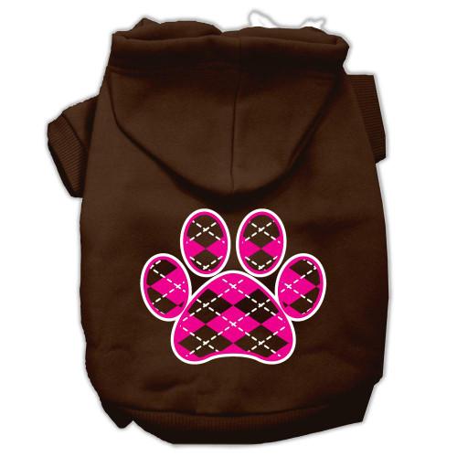 Argyle Paw Pink Screen Print Pet Hoodies Brown Size Xl (16)