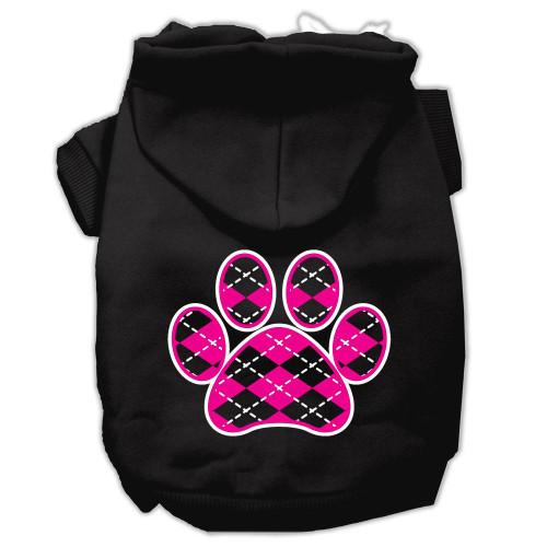 Argyle Paw Pink Screen Print Pet Hoodies Black Size Xl (16)