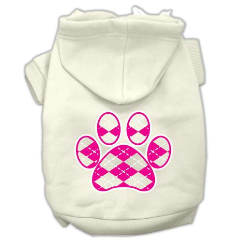 Argyle Paw Pink Screen Print Pet Hoodies Cream Size Xl (16)