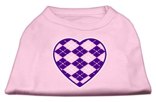 Argyle Heart Purple Screen Print Shirt Light Pink Xxl (18)