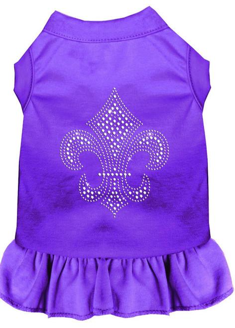 Silver Fleur De Lis Rhinestone Dress Purple Sm (10)