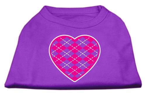 Argyle Heart Pink Screen Print Shirt Purple Sm (10)