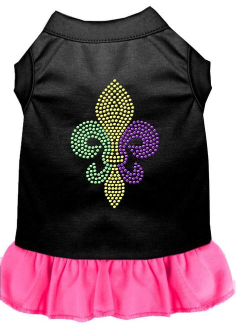 Mardi Gras Fleur De Lis Rhinestone Dress Black With Bright Pink Xxxl (20)