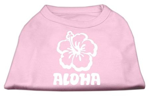 Aloha Flower Screen Print Shirt Light Pink Xxxl (20)