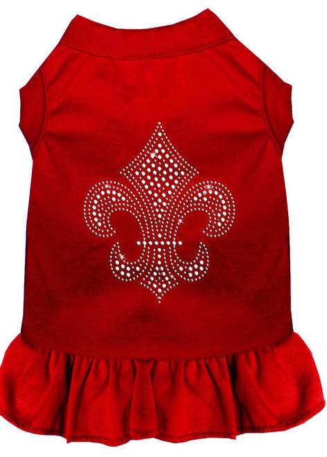 Silver Fleur De Lis Rhinestone Dress Red Sm (10)