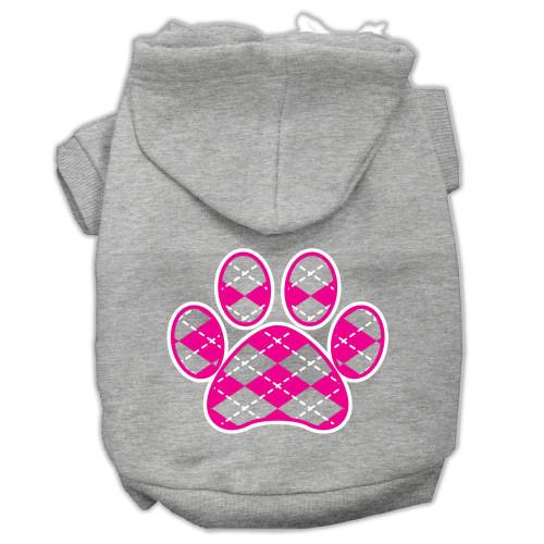 Argyle Paw Pink Screen Print Pet Hoodies Grey Size Xl (16)