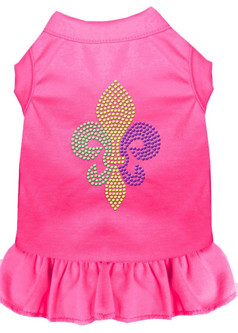 Mardi Gras Fleur De Lis Rhinestone Dress Bright Pink Sm (10)