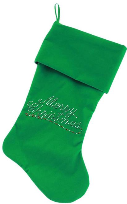 Merry Christmas Rhinestone 18 Inch Velvet Christmas Stocking Green