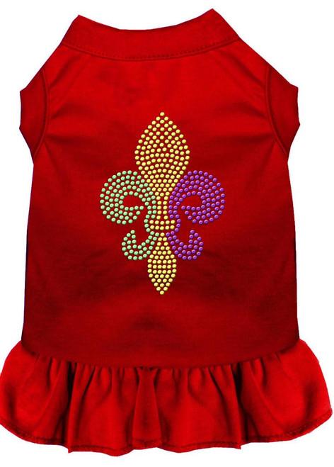 Mardi Gras Fleur De Lis Rhinestone Dress Red 4x (22)