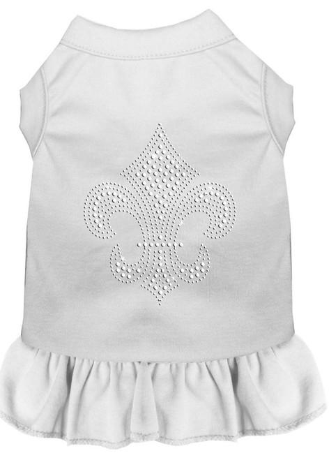 Silver Fleur De Lis Rhinestone Dress White Sm (10)