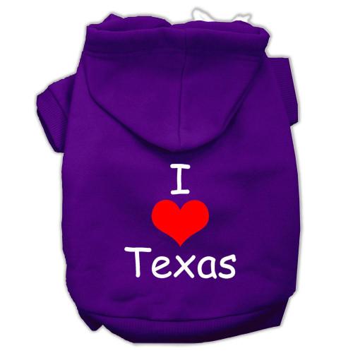 I Love Texas Screen Print Pet Hoodies Purple Size Sm (10)