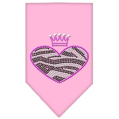 Zebra Heart Rhinestone Bandana Light Pink Small