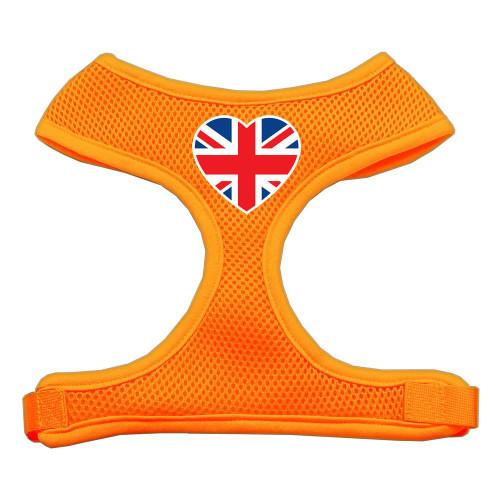 Heart Flag Uk Screen Print Soft Mesh Harness Orange Medium