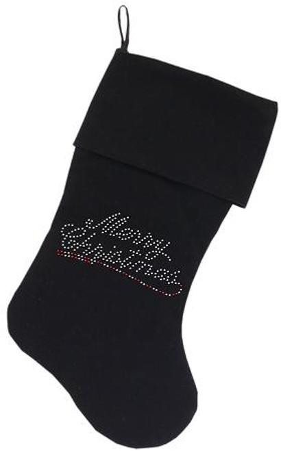 Merry Christmas Rhinestone 18 Inch Velvet Christmas Stocking Black