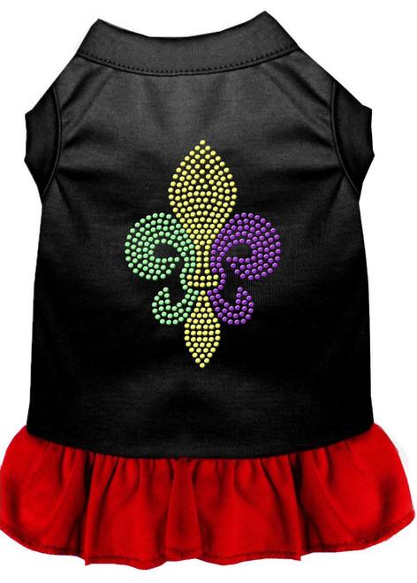 Mardi Gras Fleur De Lis Rhinestone Dress Black With Red Xxxl (20)