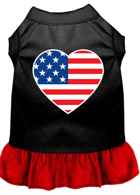 American Flag Heart Screen Print Dress Black With Red Xl (16)