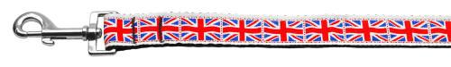 Tiled Union Jack(uk Flag) Nylon Ribbon Leash 1 Inch Wide 4ft Long