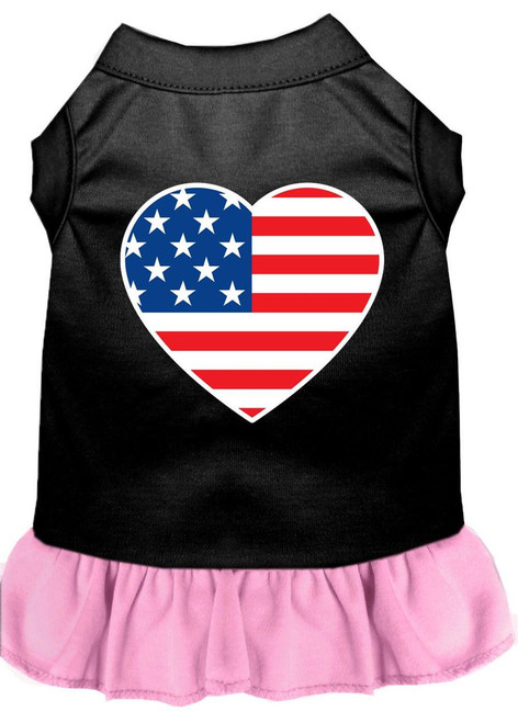 American Flag Heart Screen Print Dress Black With Light Pink Xl (16)
