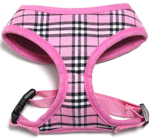 Plaid Mesh Pet Harness Light Pink X-large