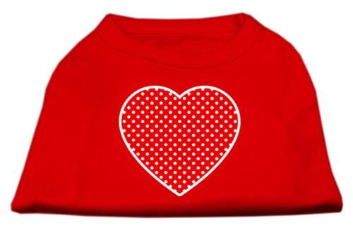 Red Swiss Dot Heart Screen Print Shirt Red Xs (8)