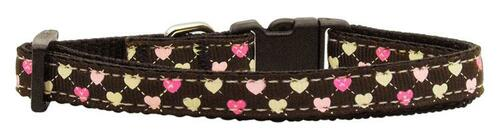 Argyle Hearts Nylon Ribbon Collar Brown Small