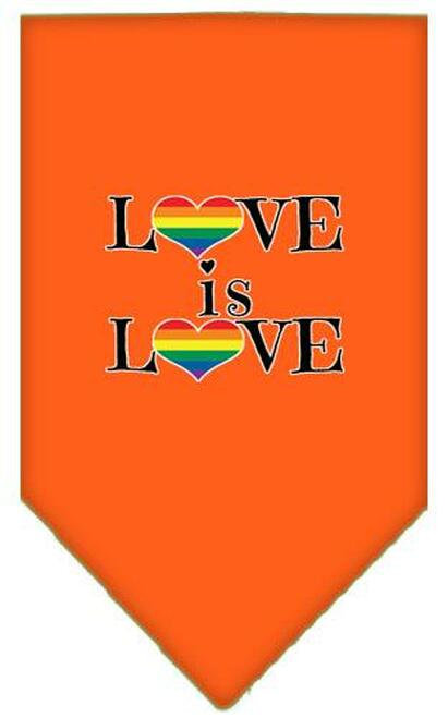 Love Is Love Screen Print Bandana Orange Small