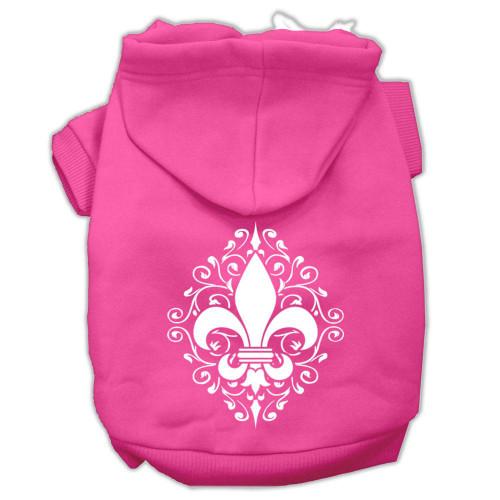 Henna Fleur De Lis Screen Print Pet Hoodies Bright Pink Size Sm (10)