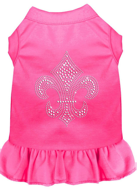 Silver Fleur De Lis Rhinestone Dress Bright Pink Xxl (18)