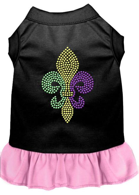 Mardi Gras Fleur De Lis Rhinestone Dress Black With Light Pink Xxxl (20)