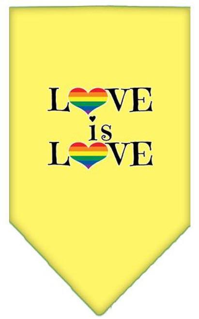 Love Is Love Screen Print Bandana Yellow Small