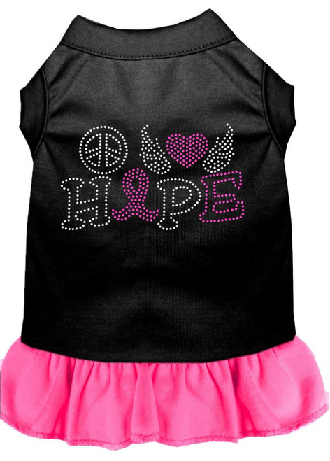 Peace Love Hope Breast Cancer Rhinestone Pet Dress Black With Bright Pink Xl (16)