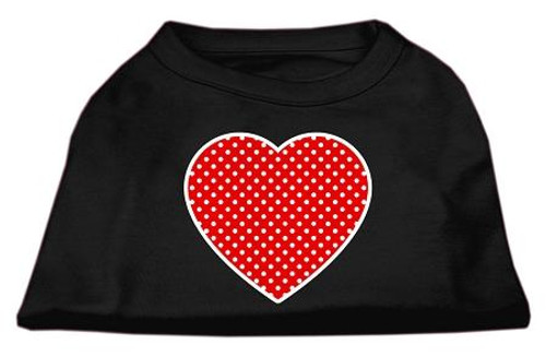 Red Swiss Dot Heart Screen Print Shirt Black Xs (8)