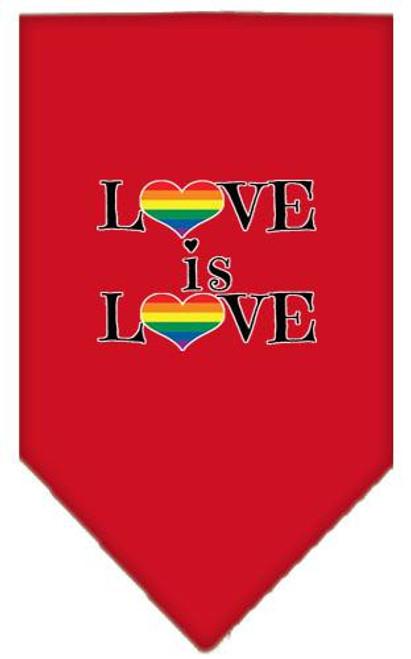 Love Is Love Screen Print Bandana Red Small