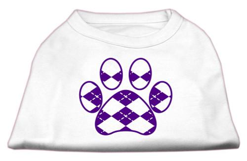 Argyle Paw Purple Screen Print Shirt White Xxl (18)