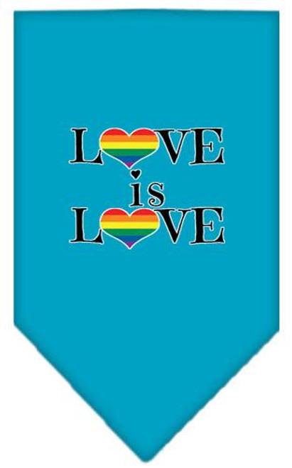 Love Is Love Screen Print Bandana Turquoise Small