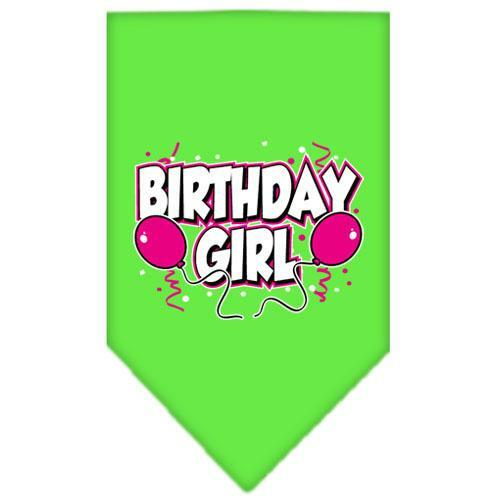 Birthday Girl Screen Print Bandana Lime Green Large