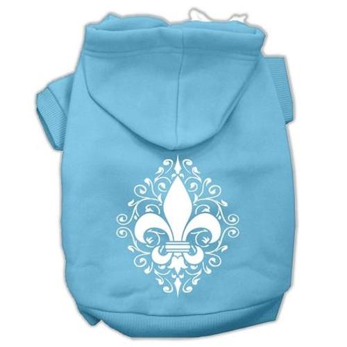 Henna Fleur De Lis Screen Print Pet Hoodies Baby Blue Size Sm (10)