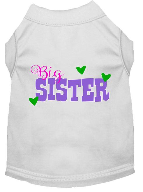 Big Sister Screen Print Dog Shirt White Xxl